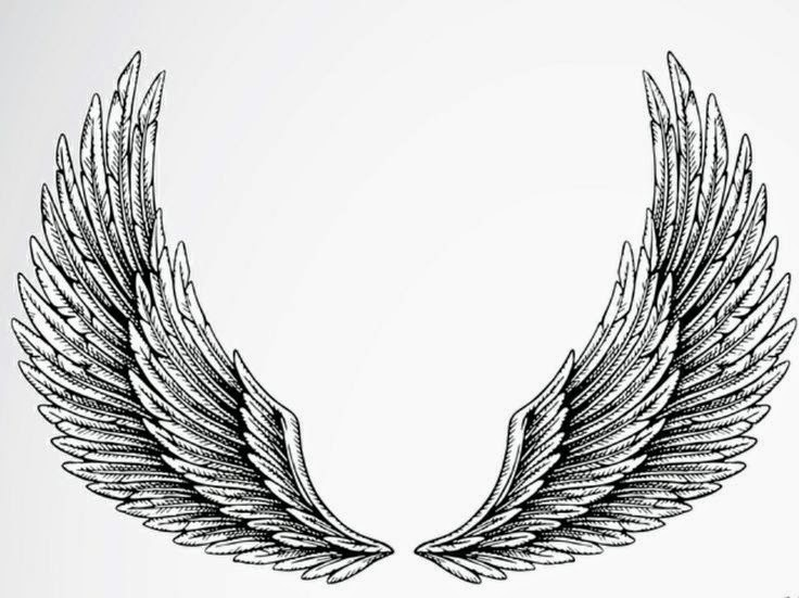 Angel wings tattoo stencil