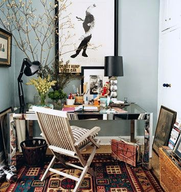 eclectic home office, natural glam,