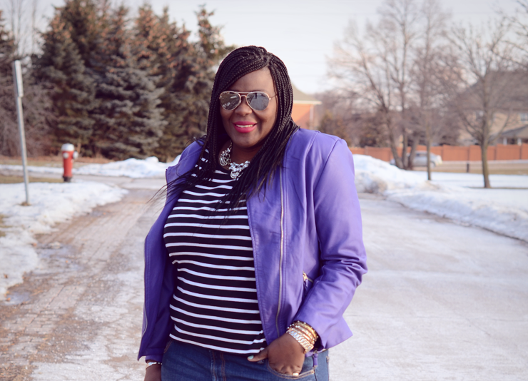 mixing print : leopard and stripes, plus size fashion-for women -purple moto jacket