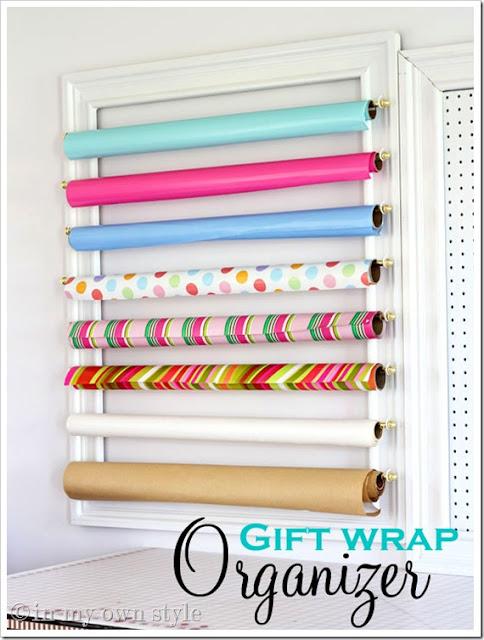 Gift Wrap Organizer :: OrganizingMadeFun.com
