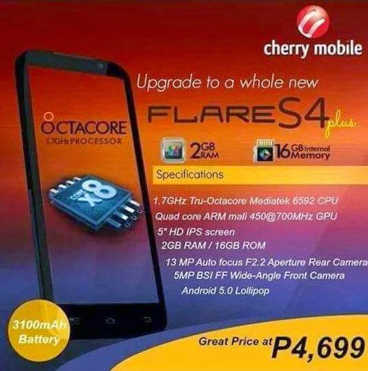 Cherry Mobile Flare S4 Plus Spotted, 5-inch HD Octa Core 2GB RAM 3100mAh Battery for Php4,699