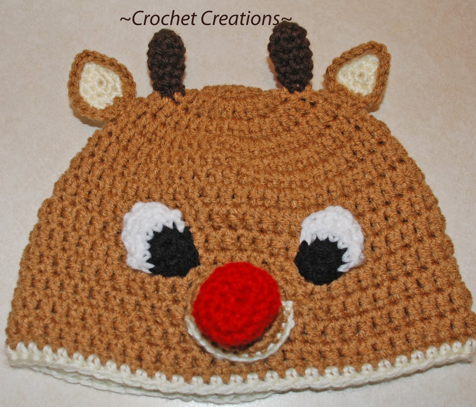 Free Crochet Patterns For Reindeer Hats : Amys Crochet Creative Creations: Crochet Rudolph Reindeer ...