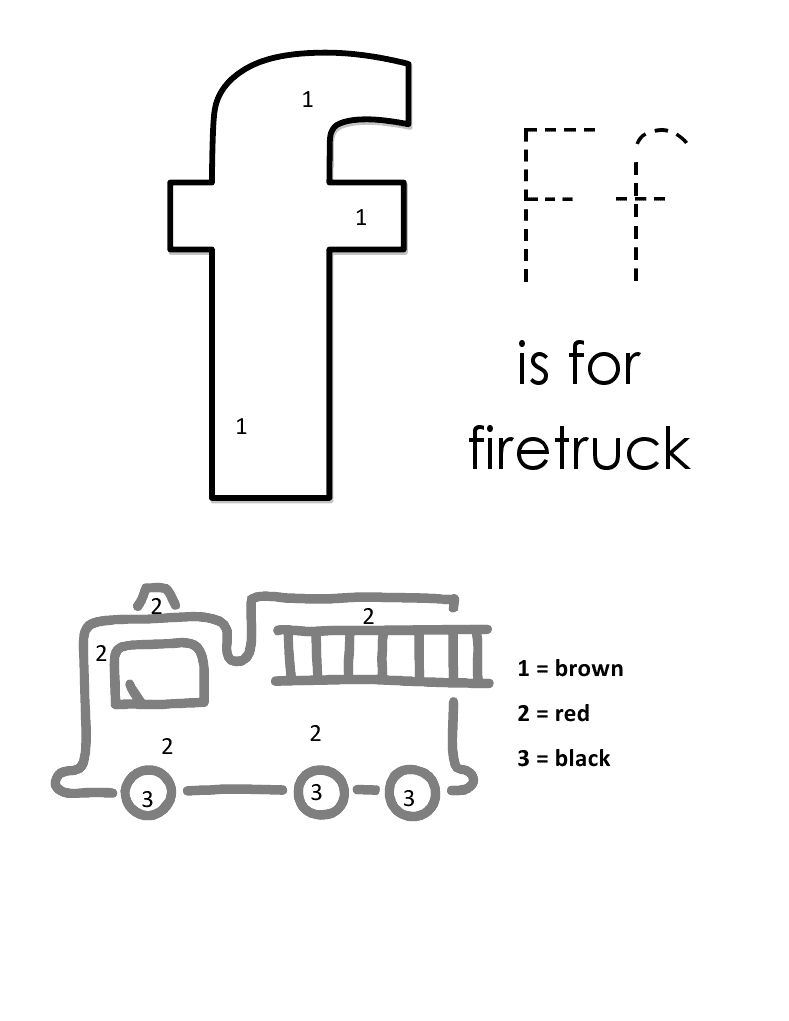 Coloring pages by numbers for kids of trucks - Letter F