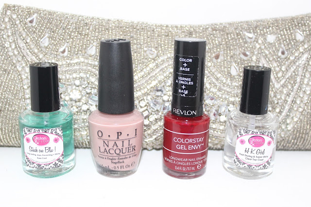 Glisten & Glow Stuck on Blu base coat, OPI Tickle My France-y, Revlon Colorstay Gel Envy Queen of Hearts, Glisten & Glow HK Girl top coat, LA Girl Rock Star Live on Stage