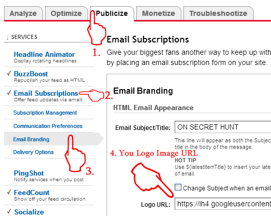 add+a+logo+in+feedburner2 How To Add Logo At The Top Of Feedburner Emails