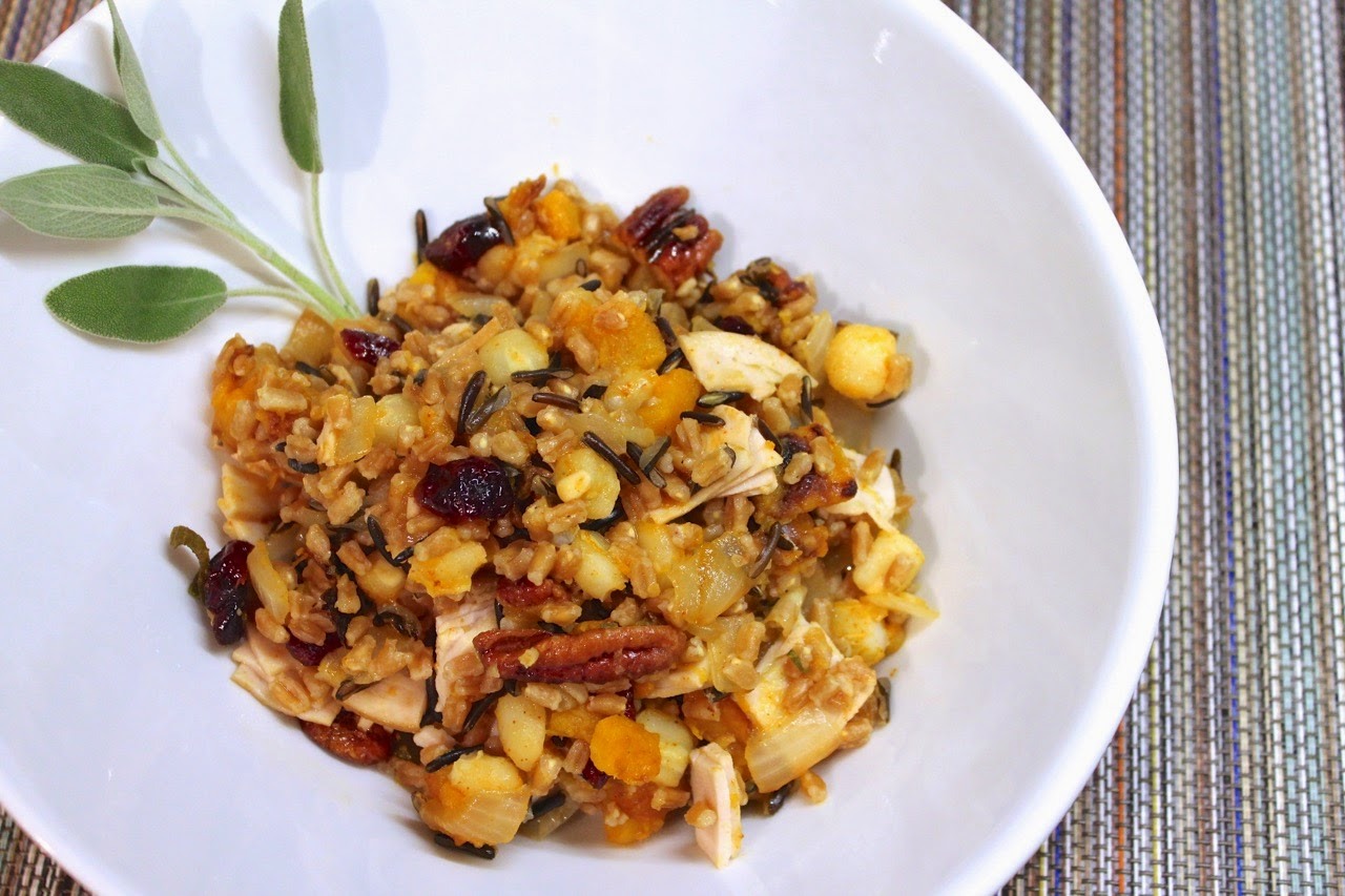Southwestern Fall Grain Bowl with Turkey, Squash, Pecans and Sage