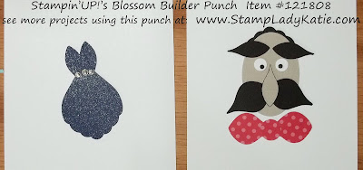 Punch Art dress and face made using Stampin'UP!'s Blossom Builder Punch