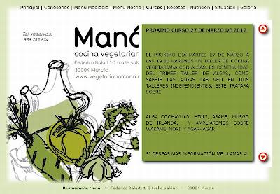 Captura de pantalla de la Web del restaurante Maná en el que se anuncia el curso de algas.