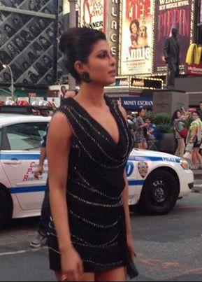 Priyanka Chopra on the sets of a shoot at Times Square NYC