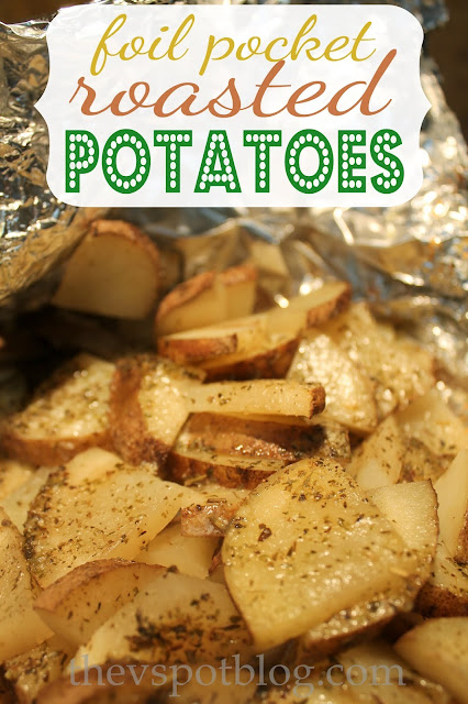 Cheesy herb potatoes, cooked in foil.