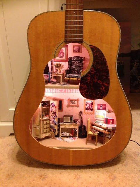 Dollhouse Guitar Art by Lorraine Robinson