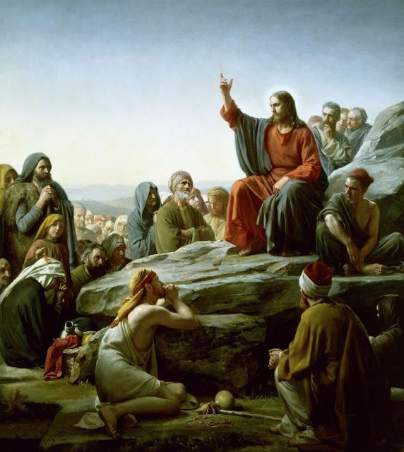 Jesus e o Sermão do Monte, Jesus manto vermelho, Jesus e fiéis