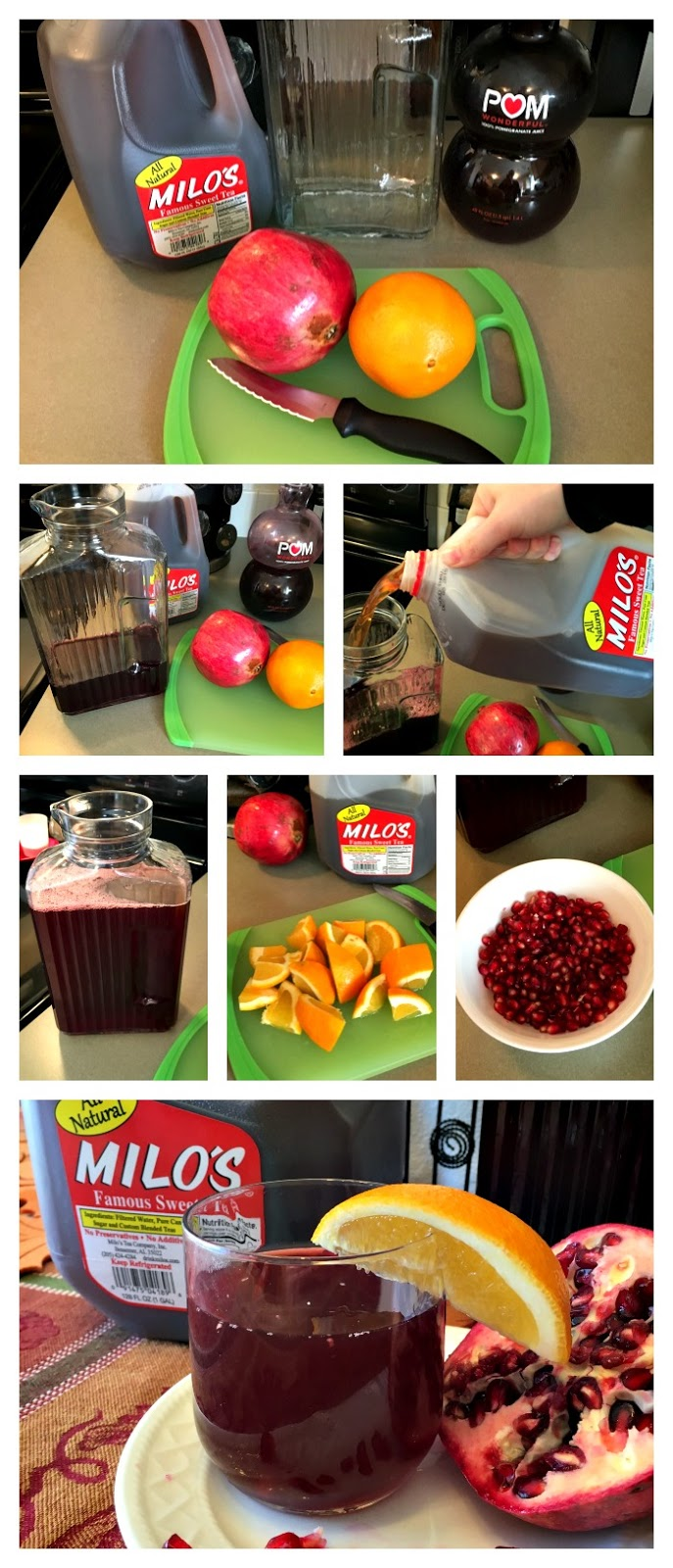 Pomegranate Citrus Sweet Tea, Sweet Tea Recipes with fresh fruit, Milo's Sweet Tea Recipes, Holiday preparation, Milo's Tea, Family Tea, #Pmedia, #HolidayswithMilos, #DrinkMilos