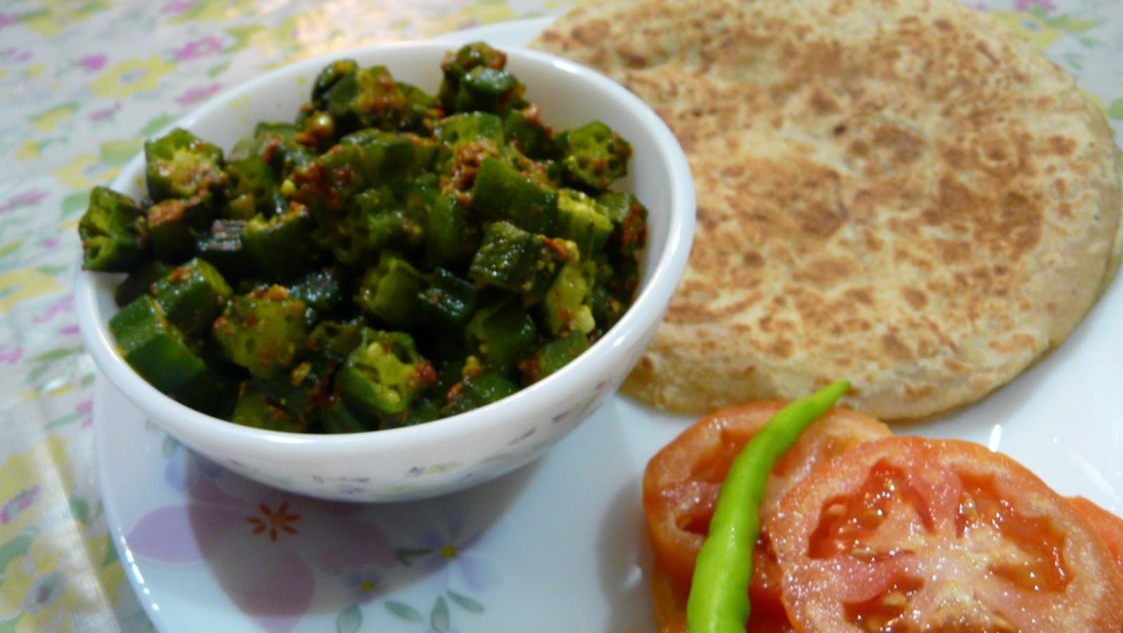 Jain bhindi ki sabji recipe simple recipes bhindi bhaji with paratha forumfinder Image collections