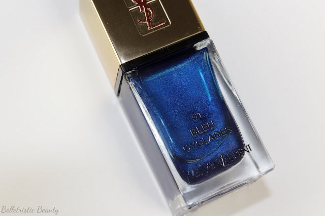 Yves Saint Laurent Bleu Cyclades #51 La Laque Couture nail polish lacquer, Bleu Lumiere Collection, Summer 2014, in studio lighting with forced flash