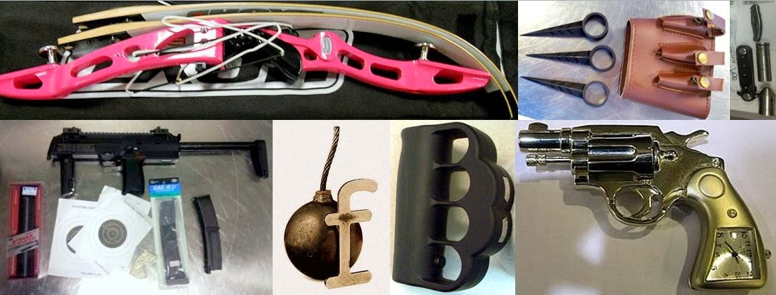 Miscellaneous Items - Left to Right / Top to Bottom: Compound Bow in Carry-on (PHX), Finger Spikes (BHM), Bang Stick (KOA), BB Machine Gun (EWR), Novelty Bomb (PHX), Stun Knuckles (DEN), Gun Clock (SEA)