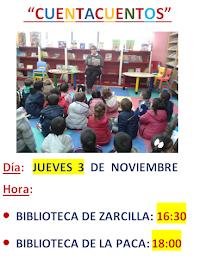 Cuentacuentos en las bibliotecas de Zarcilla y de La Paca