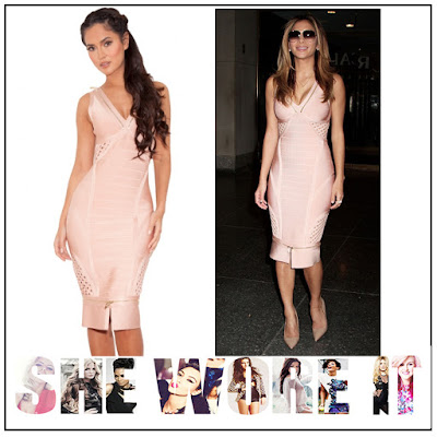 Bandage, Bodycon, Dress, Gold, Hem Detail, House Of CB, Lattice Detail, Light Pink, Neckline Detail, Nicole Scherzinger, Nude, Panels, Plunge Front, Sleeveless, Zip Detail,