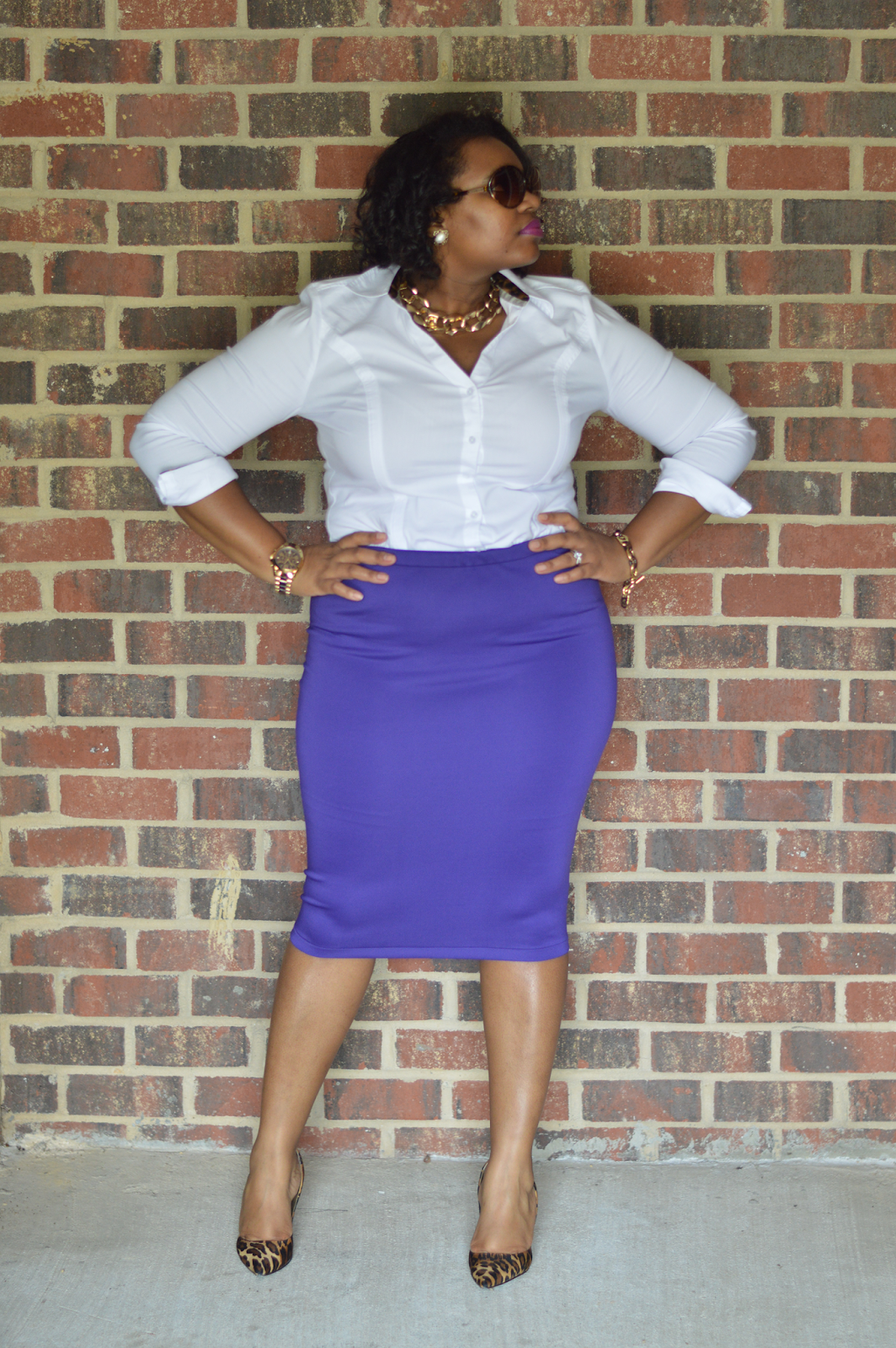 Rhianna's Studio Business Casual DIY Purple Pencil Skirt
