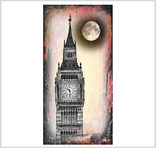Big Ben abstract art prints, laura hol art, big ben digital paintings, big ben limited edition prints, hand drawn big ben