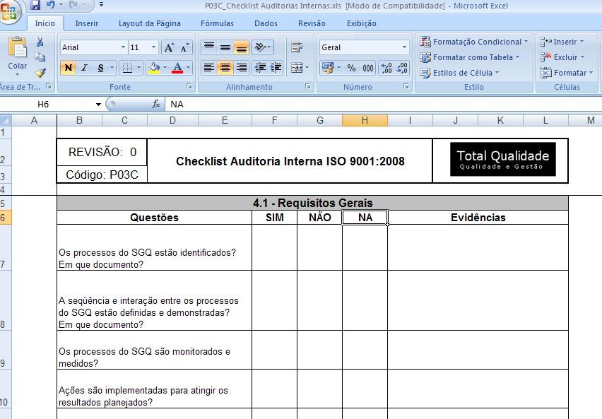 Audit Template Excel
