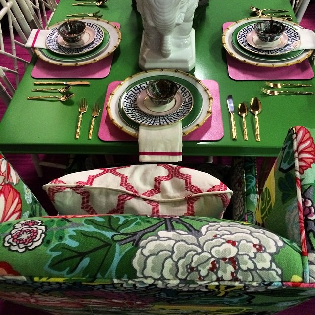 Aesthetic Oiseau: Pink Green Chiang Mai Table from Parker Kennedy