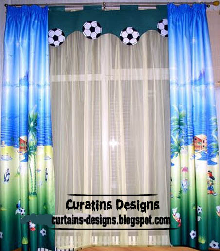 cool curtain design with soccer valance for kids room