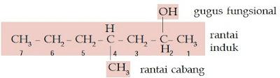 rantai cabang induk gugus fungsional 4-metil-2-heptanol