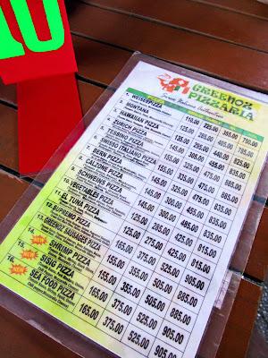 Greenoz Pizzaria Pizza Menu
