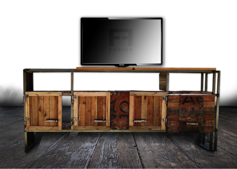Mueble tv madera reciclada fusion mobiliario for Como reciclar puertas de madera