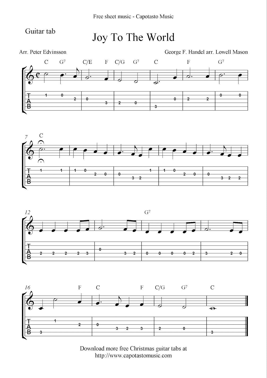 Joy To The World, free Christmas guitar sheet music and tablature