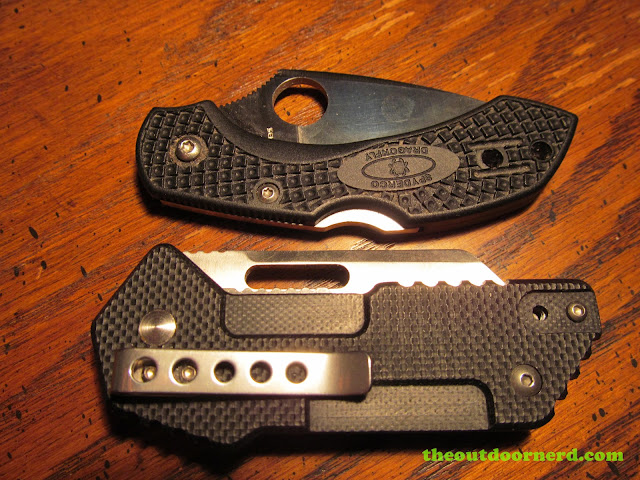 Sanrenmu GB-T11 Pocket Knife - shown with Spyderco Dragonfly