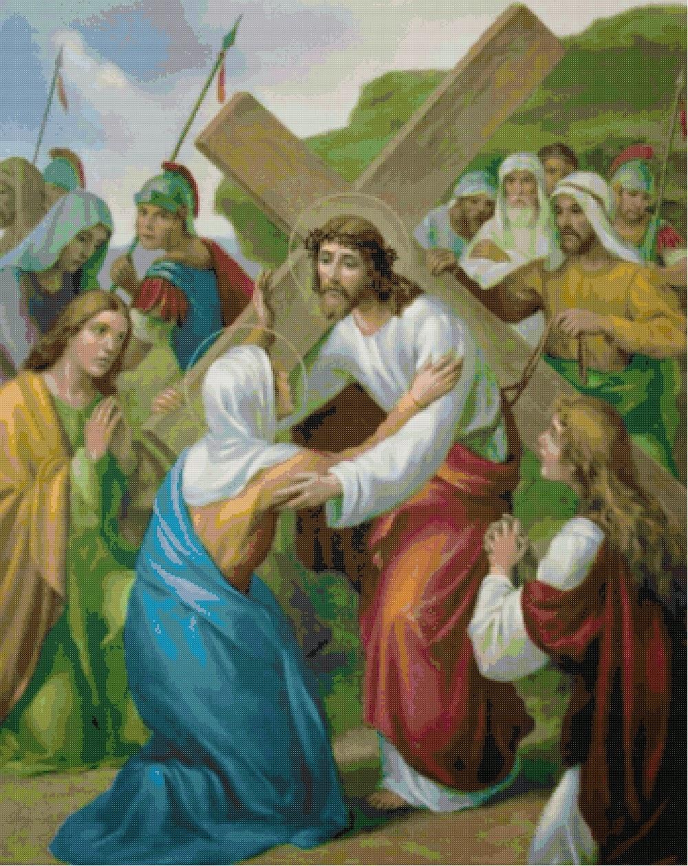 Donna schemi per il punto croce le stazioni della via crucis