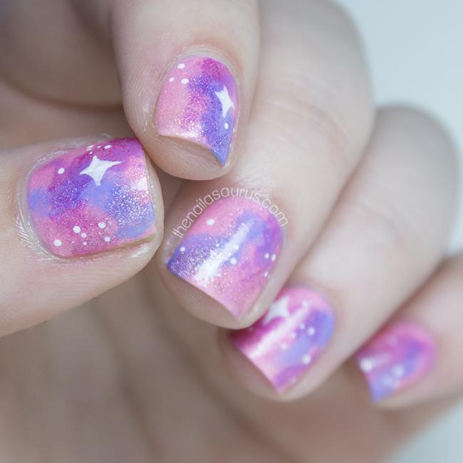 Pink Galaxy Nail Art | The Nailasaurus | UK Nail Art Blog