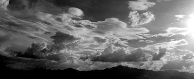 black and white cloudscape