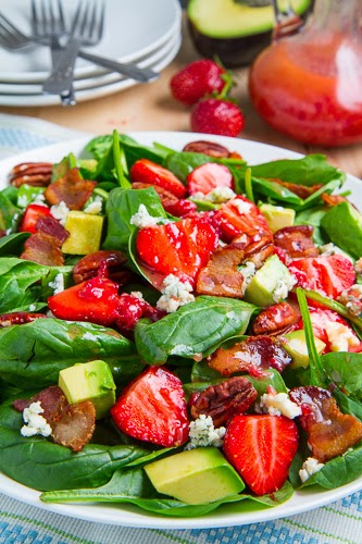 Strawberry and Avocado Spinach #Salad in Raspberry Balsamic Vinaigrette