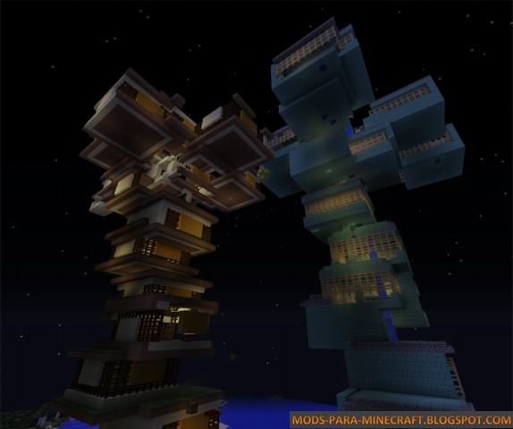 Dos torres de control del mapa Random RPG para Minecraft 1.8