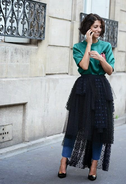 Moda de rua Paris - Street style - Fashion street saia de tule