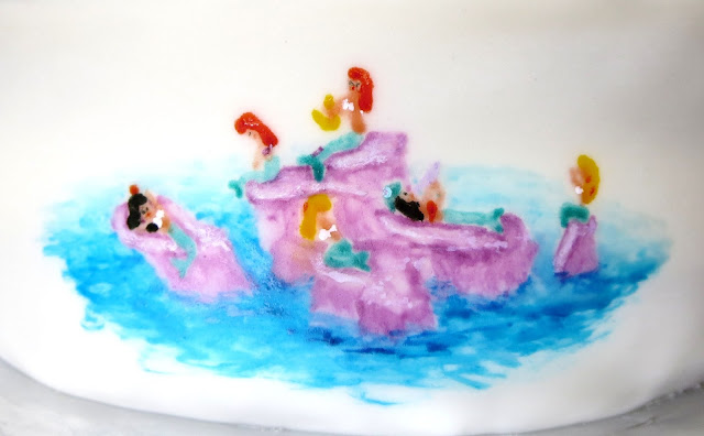 Hand Painted Peter Pan Cake - Close Up of Mermaid Scene