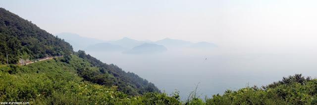 Vista de la costa de Namhae