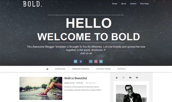 Bold Parallax Responsive Blogger Template
