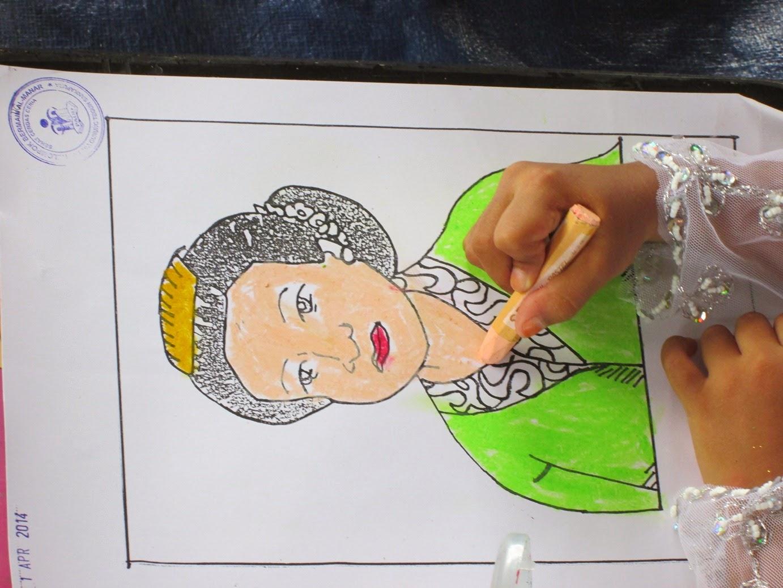 Salah Satu Hasil Karya Siswa TK dalam Mewarnai Gambar Ibu Kartini