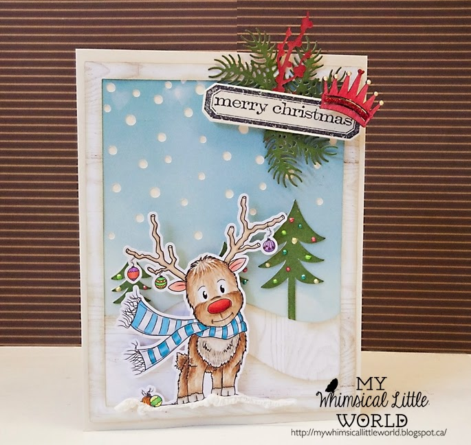 My Whimsical Little World , Digi stamp, digital stamp, stamp, copic, paola jofre, drawing,christmas, reindeer