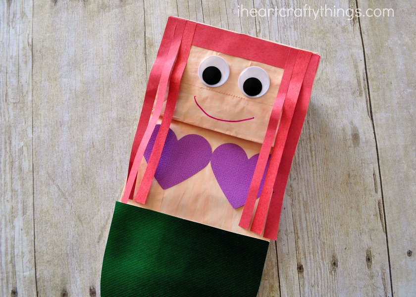 Paper bag mermaid craft for kids i heart crafty things for Mermaid arts and crafts