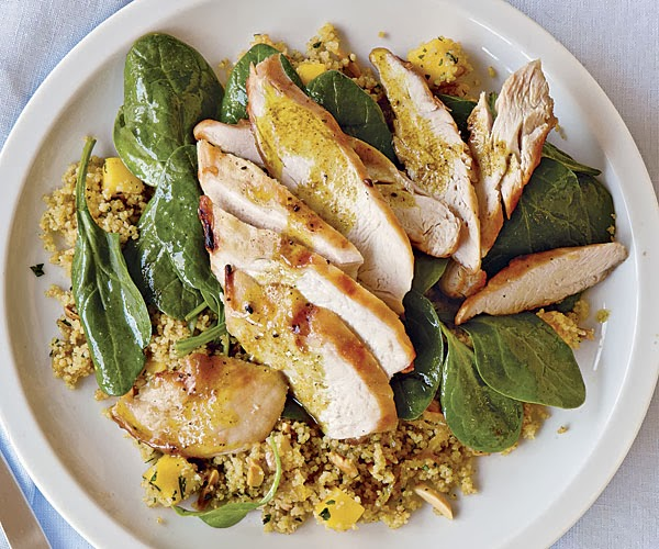 Photo: Grilled Chicken with Curried Couscous, Spinach, and Mango ...