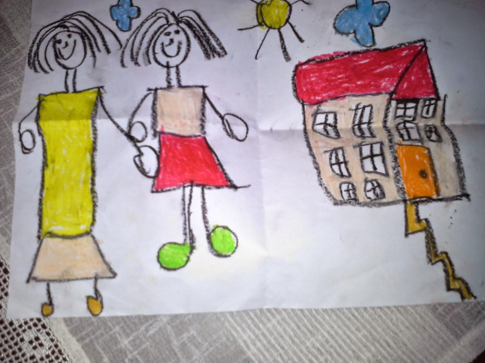 Minik kızımın okulda  Anneler Günü için çizdiği resim.