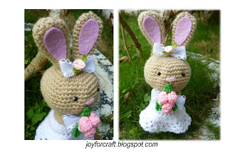 Amigurumi crochet bunny wedding bride cute gift