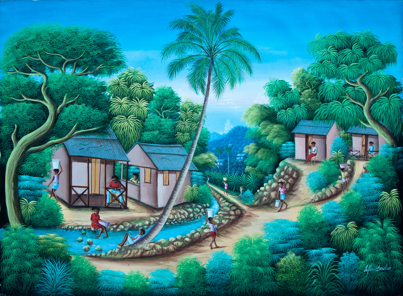Paisajes naif mayardbuz haitian painting - Dibujos naif para pintar ...