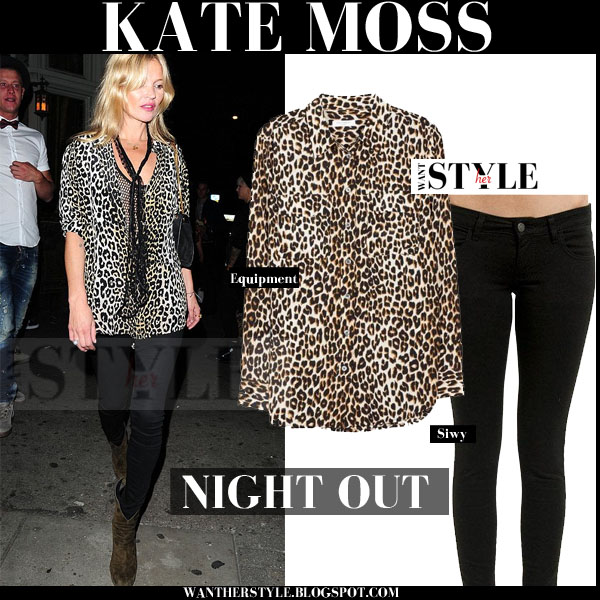 Kate Moss in leopard print equipment blouse and black skinny siwy jeans streetstyle what she wore