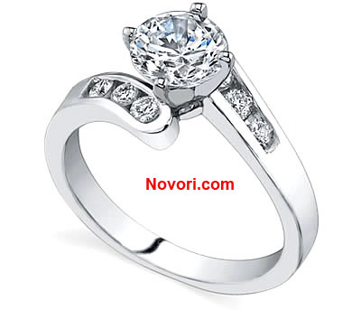 14K White Gold Diamond Engagement Setting 013ctw Engagement Rings